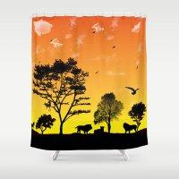 safari Shower Curtains featuring Safari by Kaitlynn Marie