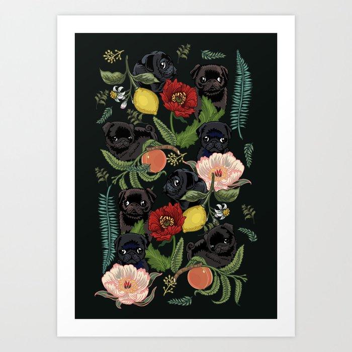 Botanical and Black Pugs Kunstdrucke