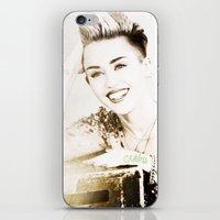 miley cyrus iPhone & iPod Skins featuring Miley Cyrus by Ylenia Pizzetti