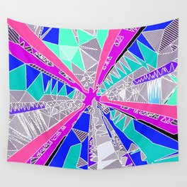 psychedelic geometric pattern drawing abstract background in blue pink purple Wall Tapestry