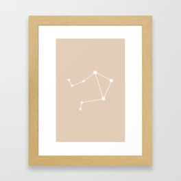 Libra Zodiac Constellation - Warm Neutral Framed Art Print