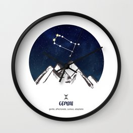 Astrology Gemini Zodiac Horoscope Constellation Star Sign Watercolor Poster Wall Art Wall Clock