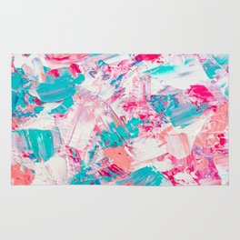 Modern bright candy pink turquoise pastel brushstrokes acrylic paint Rug