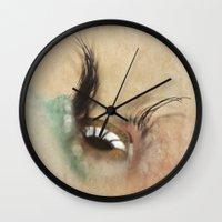 all seeing eye Wall Clocks featuring All Seeing Eye by Fran Walding