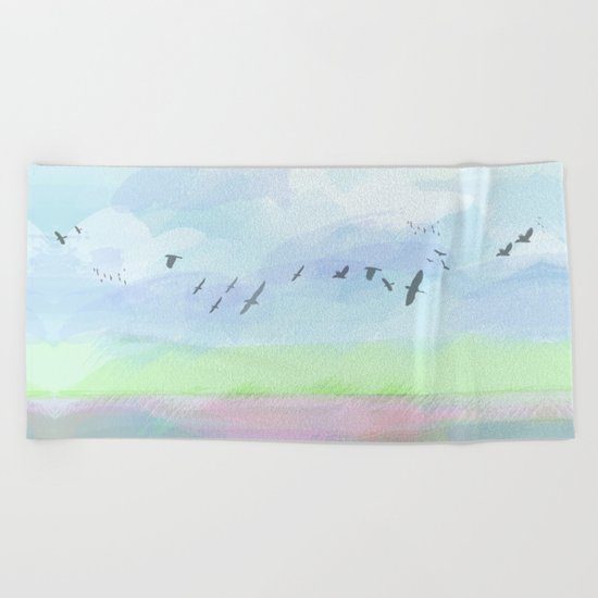 Pastel dreamscape Beach Towel