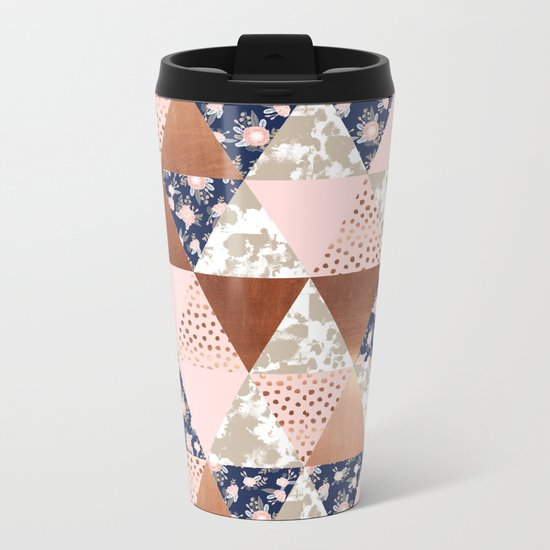 Floral bouquet pastel navy pink florals painted quilt metallic pattern basic minimal quilt pattern Metal Travel Mug