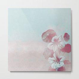 Elegant Pastel Vintage Pink Aqua Blue Flowers Metal Print