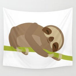 funny and cute Three-toed sloth on green branch Wall Tapestry