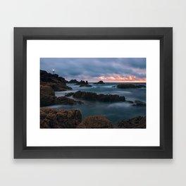 Foggy Corbiere Lighthouse in Jersey Framed Art Print