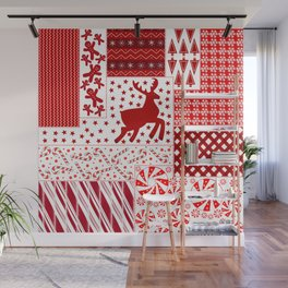 Holiday Red Quilt Design Wall Mural