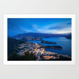 Queenstown City Lights from Skyline, New Zealand Art Print