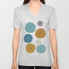 Sea Urchins in Blue + Gold Unisex V-Neck