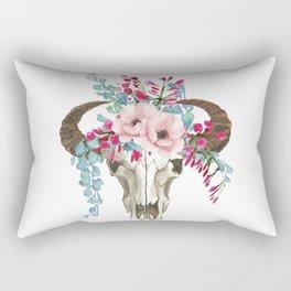 Bohemian bull skull with flowers Rectangular Pillow