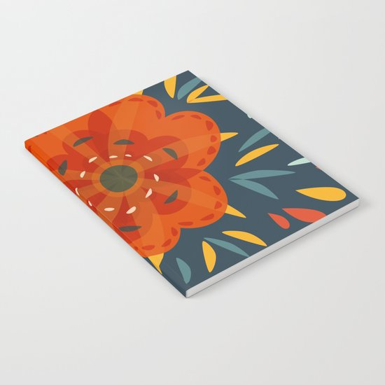Decorative Whimsical Orange Flower Notebook