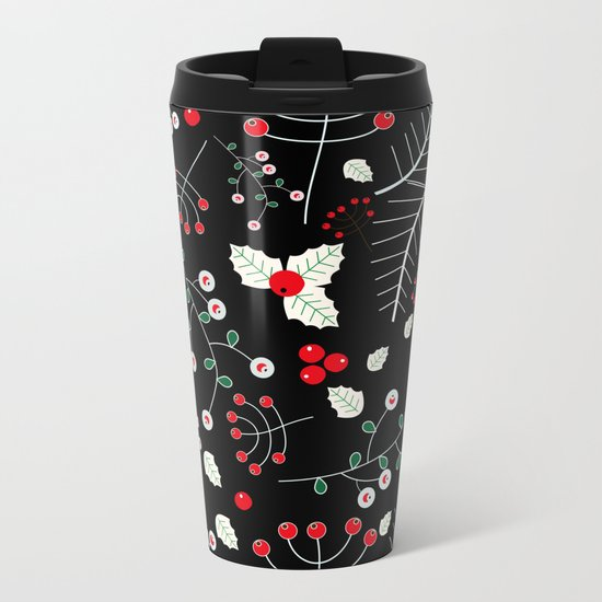 mistletoe black Metal Travel Mug