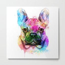 French bulldog Watercolor Metal Print