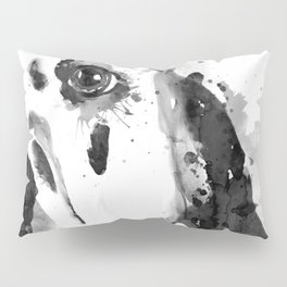 Black And White Half Faced Dalmatian Dog Pillow Sham