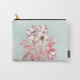 Pink & Teal Summer Fun Flower Ice Cream Waffle -Illustration Carry-All Pouch
