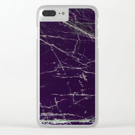 Purple Marble Crease Texture Design Clear iPhone Case