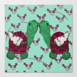 Mint Turtledoves - 12 Days of Christmas Canvas Print