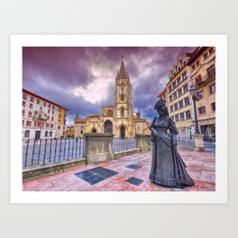 Cathedral of San Salvador  in Oviedo. Art Print