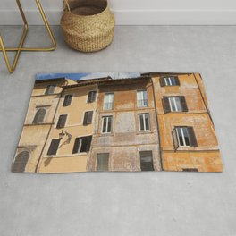 A beautiful streetview of the old orange houses in Rome, Italy  | Color Photography | Travel Photography | Street Photography | Photo Print | Art Print Rug
