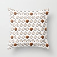 coconut wishes Throw Pillows featuring Coconut by GOLDASTIC