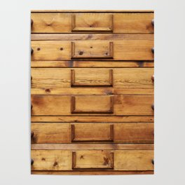 Wooden cabinet with drawers Poster