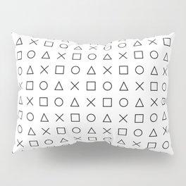 gaming design white - gamer pattern black and white Pillow Sham