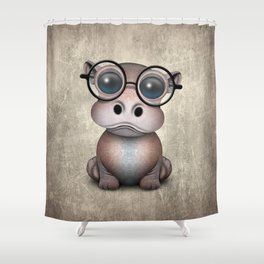 Cute Nerdy Baby Hippo Wearing Glasses Shower Curtain