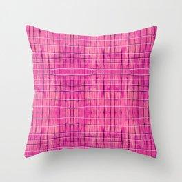 Magenta Madras Plaid Throw Pillow