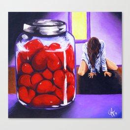 Jar Of Hearts Heart Woman Sorrow Lady Female Figure Grief Agony Anguish Pain Love Lover Heartache  Canvas Print
