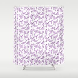 Winter Birds and Foliage Pattern (Purple) Shower Curtain