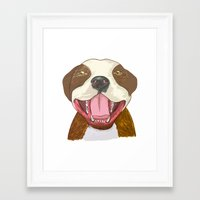 pit bull Framed Art Prints featuring Pit Bull Pride by Kat Lyon