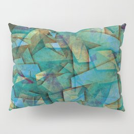 Fragments In blue - Abstract, fragmented art in blue Pillow Sham
