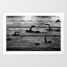The swimmers in black and white Art Print