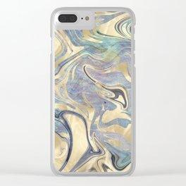 Liquid Gold Mermaid Sea Marble Clear iPhone Case