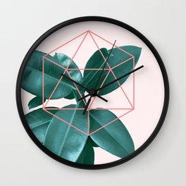 Geometric greenery II Wall Clock