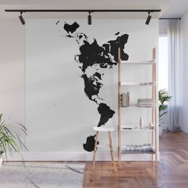 Dymaxion World Map (Fuller Projection Map) - Minimalist Black on White Wall Mural
