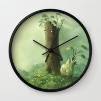 folk Wall Clocks featuring Plant Folk by Andrew McIntosh