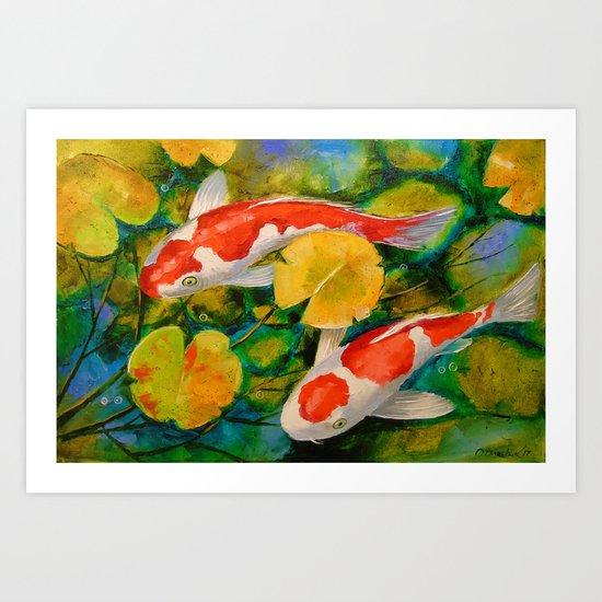 Koi in a pond Art Print