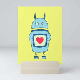 Cute Clumsy Robot With Heart Mini Art Print