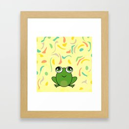 Cute frog looking up Framed Art Print