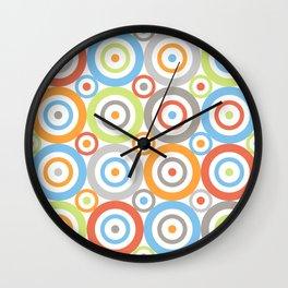 Abstract Circles Pattern Color Mix & Greys Wall Clock