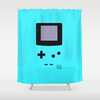 gameboy Shower Curtains featuring Gameboy Blue by ZenthDesigns