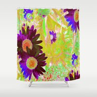 hippy Shower Curtains featuring Hippy Power Neon Series  by RokinRonda