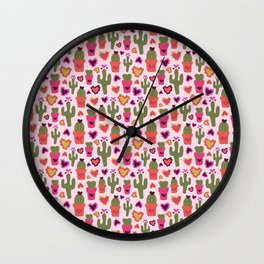 A Cactus for Valentines Wall Clock