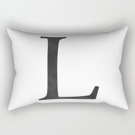 Letter L Initial Monogram Black and White Rectangular Pillow