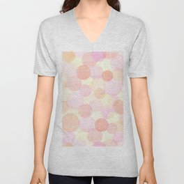 Pink and coral-red dots overprint pattern Unisex V-Neck