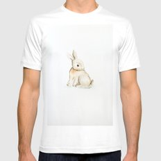Easter bunny watercolor Mens Fitted Tee MEDIUM White